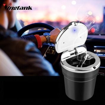 Vingtank Cylinder Cup Holder Portable Cigarette Ashtray Car Auto Smoke Stand with Blue LED Light and Cover Built-in battery