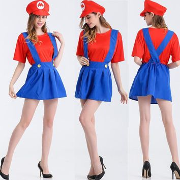 Party Decoration Super Mario dress Cosplay Adult Halloween Clothes masquerade costume cos Louis strap skirt female E0003