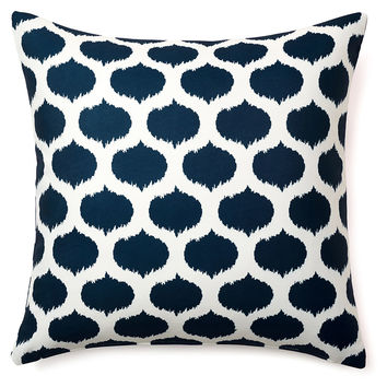 Ikat Dot 20x20 Outdoor Pillow, Navy, Decorative Pillows