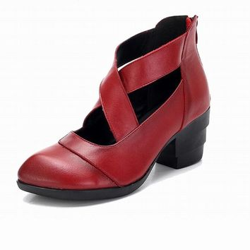 GKTINOO 2018 Vintage Style Cross Straps Handmade Women's Shoes Pumps Genuine Leather High Heels Pointed Toe Shoes