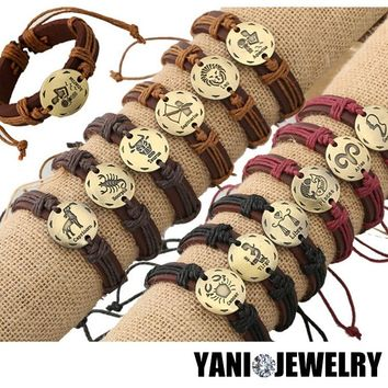 12pcs/lot Newest 12 Zodiac Signs Leather Bracelet Constellations Charm Bracelets Adjustable Bracelet  Bangle Cuff Jewelry