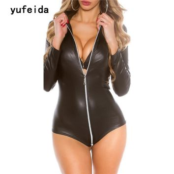 YUFEIDA Black PU Leather Bodysuit Women Jumpsuit Catsuit Long Sleeve Zipper Sexy Overalls Rompers Outfits Clubwear Costume