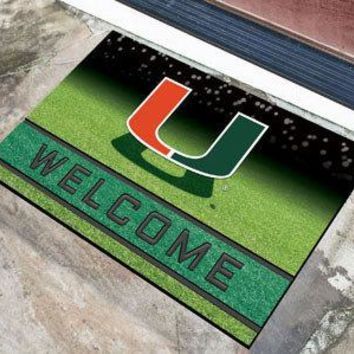 Miami Hurricanes Door Mat 18x30 Welcome Crumb Rubber