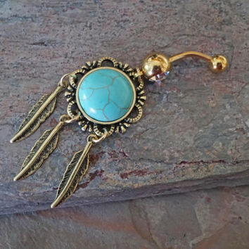 Gold Belly Button Rings Turquoise Dream Catcher Feather Belly Ring