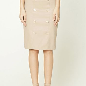 Faux Leather Button-Front Skirt
