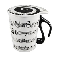 Musician Coffee MUG with Lid Staves Music Notes
