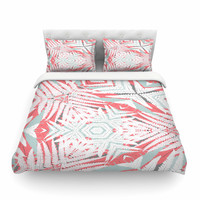 "Alison Coxon ""Planthouse Raspberry"" Coral Gray Featherweight Duvet Cover"