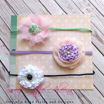 Elegant Headband Set - Newborn Headband - Girl Shower Gift - Baby Headbands - Toddler Hair Clips - French Barrette Bows - Flower Hair Bows