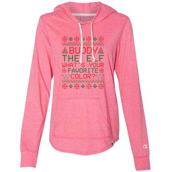 Buddy The Elf What's Your Favorite Color? - Womens Champion Brand Hoodie - Hooded Sweatshirt