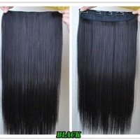 "8 Color 23"" Straight Full Head Clip in Hair Extensions Wwii101 (Black)"