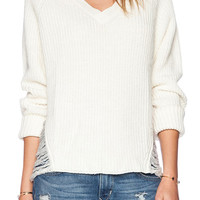 Fashion Solid Distressed Side Cutout Back Pullover Sweater