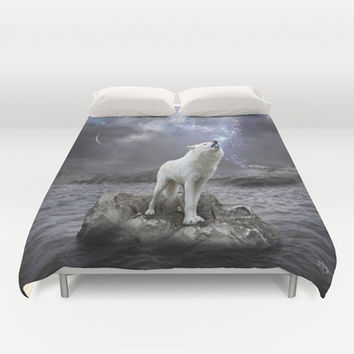 Stars Lie Hidden In Your Soul (Wolf Galaxy) Duvet Cover by soaring anchor designs ⚓ | Society6