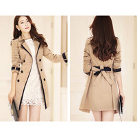 Fashion bodycon solid color coat