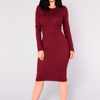 Shaelyn Ribbed Dress - Wine