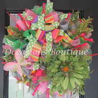 Spring Wreath, Summer Wreath, Wreath for Spring, Door Hanger, Wreath for Summer, Front door wreath, Floral wreath, Ready to Ship