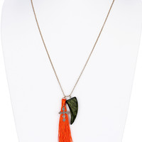 NECKLACE / WOODEN ELEPHANT TOOTH / COLOR TASSEL / CROSS CHARM / AGED FINISH METAL / ETCHED / LINK / CHAIN / 32 INCH LONG / 4 1/2 INCH DROP / NICKEL AND LEAD COMPLIANT
