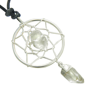 Amulet Rock Quartz Crystal Dreamcatcher Lucky Charm Protection Powers Pendant