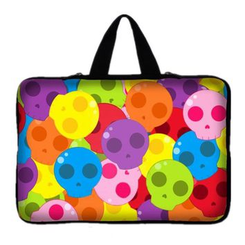 Colorful Skull waterproof Notebook Laptop sleeve bag case Computer cover pouch For tablet PC 7.9 10 12 13 14 15 15.6 17 inch