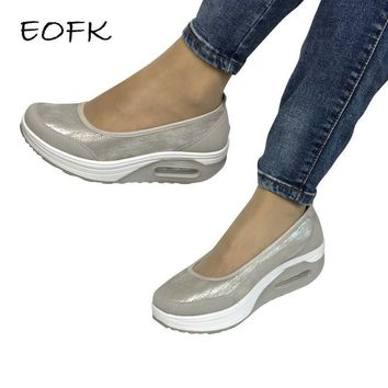 EOFK Women Flat Platform Shoes Woman Moccasin zapatos mujer platform sandals Slip On F