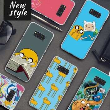cute Adventure Time Pattern clear frame hard Back Case Cover for Samsung Galaxy S8 S8 Plus S9 S9Plus S6 S7 S5 Note 8 5