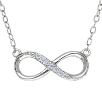 Infinity Sign Link With Cz Necklace In Rhodium Plated Sterling Silver - 18 Inches