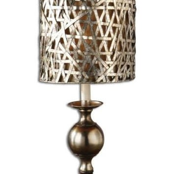 Buffet Table Lamp - Aluminum Body With Antiqued Effect And Wood Tone Accents
