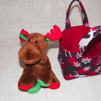 Christmas Plaid and Snowflakes Teeny Tote Bag with Plush Holiday Moose