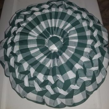 Handcrafted, green and white smocked gingham throw pillow, 14 inch round