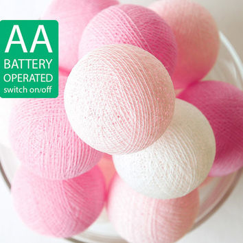 20 Sweet Pink Tone Cotton Ball LED String Lights AA Battery Operated, Bedroom, Decor, Fairy, Wedding, Patio, Outdoor, Party