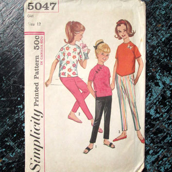 Top and Pants girls sewing pattern Asian blouse cropped overblouse pullover shirt vintage 60s Mad Men Sally Draper Simplicity 5047 size 12