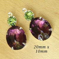 Amethyst Purple and Peridot Green Glass Beads, Silver Settings, One or Two Rings, Vintage Glass Jewel, Oval, 20mm x 10mm, One Pair