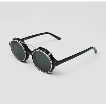 Han Kjobenhavn - Doc Clip On 47mm Black Sunglasses / Green Lenses