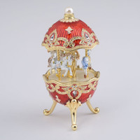 Faberge Egg with Horse Carousel by Keren Kopal Handmade Decorated with Swarovski Crystals Gold Plated Red Enamel Painted