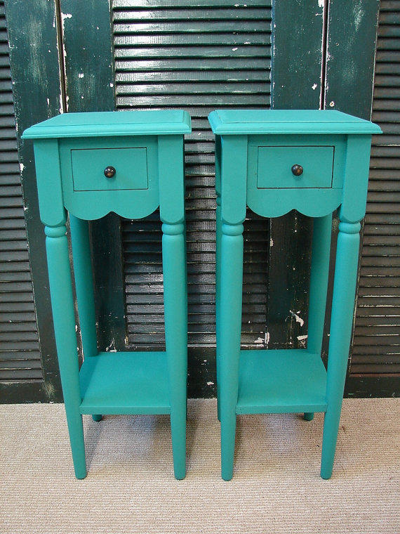 Reclaimed turquoise paint 1 dr tall small from curiositync on for Small tall end table