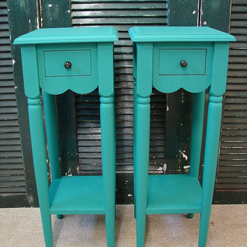 Reclaimed Turquoise Paint 1 Dr Tall Small Accent Side Table Tables Nightstand Nightstands (HAI) Ships FEDEX