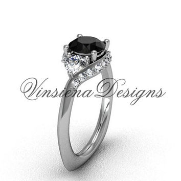14kt white gold unique diamond Three stone engagement ring, Black Diamond VD8225