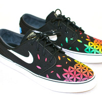 Custom Hand Painted Nike Zoom Stefan Janoski Sneakers - Rasta Sacred Geometry Flower of Life pattern
