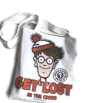 Where's Waldo Tote Bag. Upcycled T-shirt Bag. 90's Accessory.