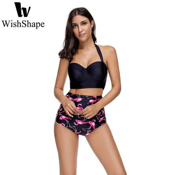 Sexy Bikini Set Vintage High Waist Swimsuit Floral Print Swimwear Women Push Up String Plus Size XXL Bathing Suits 2 Piece 2018
