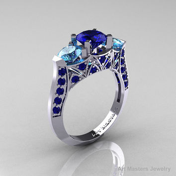 Modern 10K White Gold Three Stone Blue Sapphire Blue Topaz Solitaire Engagement Ring, Wedding Ring R250-10KWGBTBS