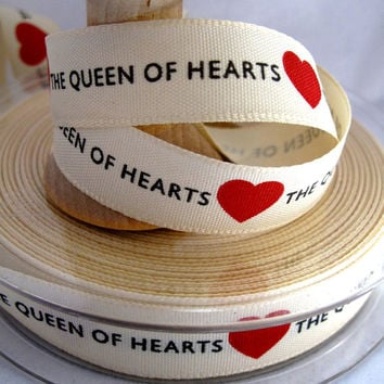 Trim QUEEN of HEARTS 2metres 15mm wide cotton feel polyester
