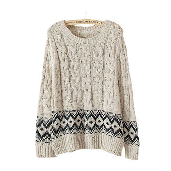 Winter Vintage Geometric Pattern Round-neck Long Sleeve Twisted Pullover Sweater Jacket [8216431489]