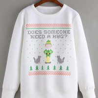 White Round Neck Christmas Print Sweatshirt -SheIn(Sheinside)