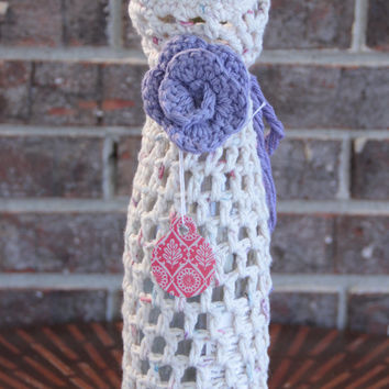 Purple and Cream Crochet Wine Bottle Cozy, Gift Bag with tag