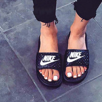 Nike Women Men Casual Fashion Sandal Slipper Shoes - Black