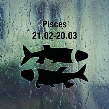 Pisces-21.02-20.03-4th  Kanji Die Cut Vinyl Outdoor Decal (Permanent Sticker)