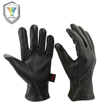 OZERO Men's Work Gloves Goat Leather Security Protection Safety Stamping Brand Cutting Workers Welding Moto Gloves For Men 7005