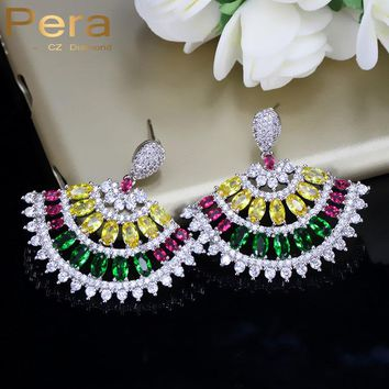 Pera Brand Designer Prom Party Vintage Bohemian Style Multicolor Zirconia Stone Pave Big Sector Dropping Earrings For Women E292