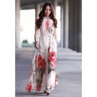 Floral Printed Bohemian Chiffon Maxi Dress