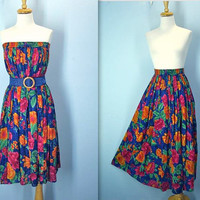 1980s Gauze Skirt / Floral Boho Hippie Skirt / Bright Cotton Skirt